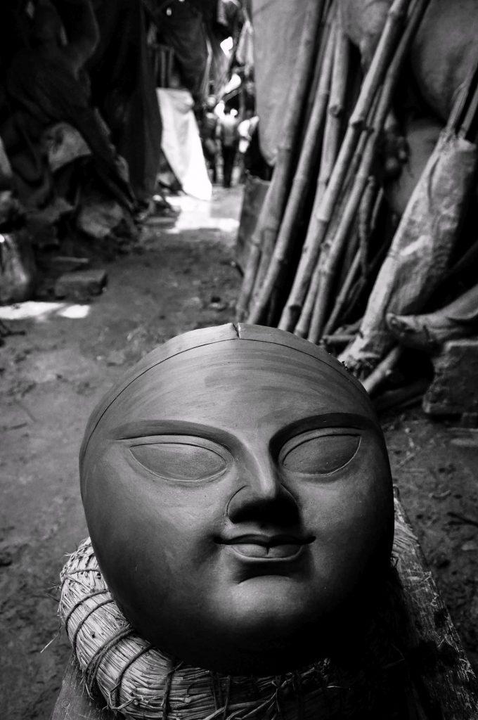 The face of the Goddess Durga left outside for drying