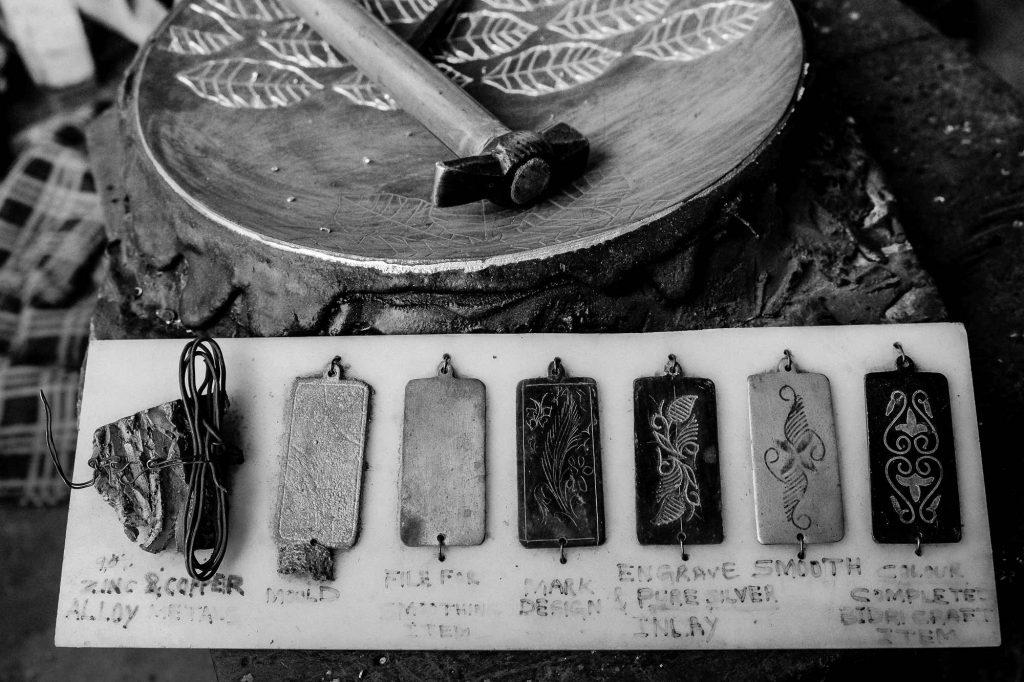 Various stages of making Bidriware