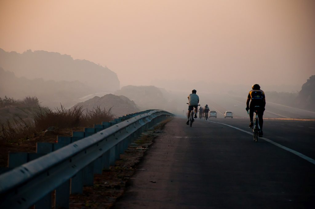 The ride continues in a foggy winter morning.