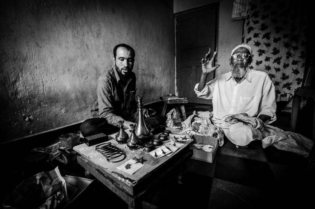 Mr Quadri and his son run the business of making Bidriware