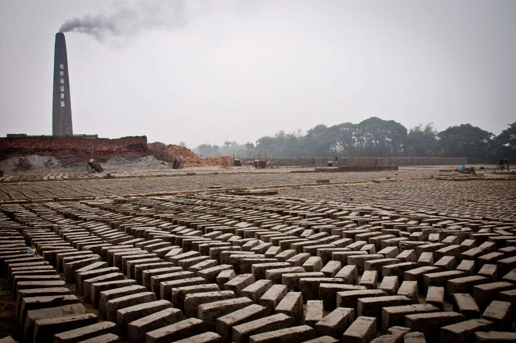 A view of Sitala brick factory. The wet bricks are left for drying